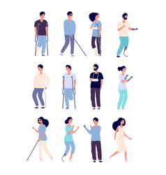 disabled people handicapped persons with crutches vector image
