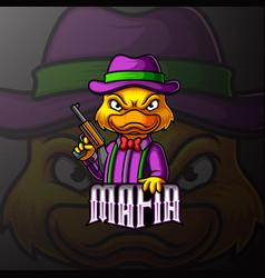 Duck mafia mascot e sport logo design vector