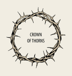 easter banner with crown of thorns and words vector image
