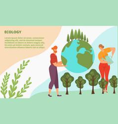 Ecology activist plants green tree concept landing vector