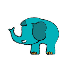 Elephant cartoon drawing childish faceless vector