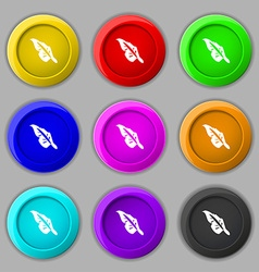 Feather icon sign symbol on nine round colourful vector