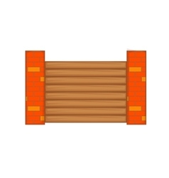Fence with brick pillars icon cartoon style vector