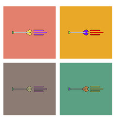 Flat icon design collection bow arrow vector
