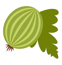 Fresh green gooseberry with leaves icon isolated vector