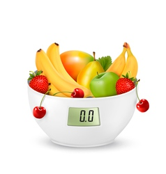 Fruit with in a digital weight scale Diet concept vector image