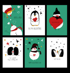 funny set of love cards vector image