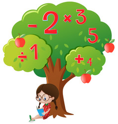 Girl studying math under the tree vector