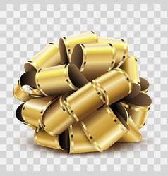 golden bow on transparent background vector image