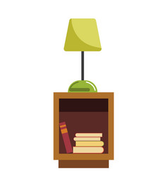 Green lamp stands on wooden bedside table full of vector