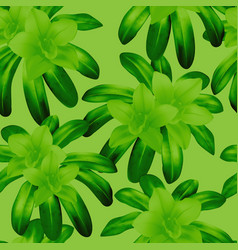 green seamless pattern with tropical plants vector image