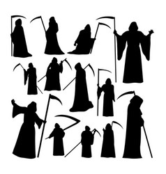 grim reaper silhouettes vector image
