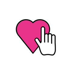 Hand cursor index with heart vector