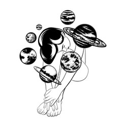 Hand drawn of beautiful woman with planets of vector