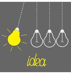 Hanging yellow light bulbs Perpetual motion Idea vector image