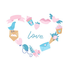happy valentines day banner heart shaped frame of vector image