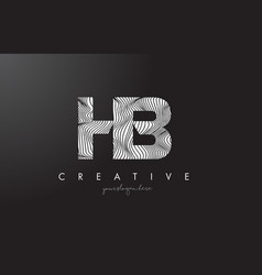Hb h b letter logo with zebra lines texture vector
