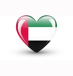 Heart-shaped icon with flag of the UAE vector