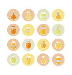 Honey jars circled icons set vector