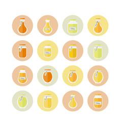 honey jars circled icons set vector image vector image