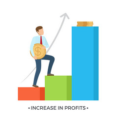 Increase in profits on white vector