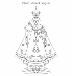 Infant jesus prague outline like a vector
