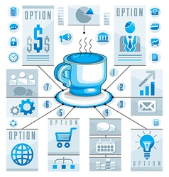Infographics concept with hot cup of tee or coffee vector