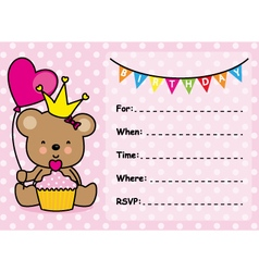 Invitation Card Birthday Girl vector
