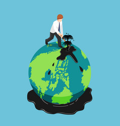 isometric businessman diggin oil on the earth vector image