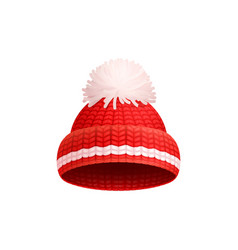 knitted red hat with white pom-pom icon vector image