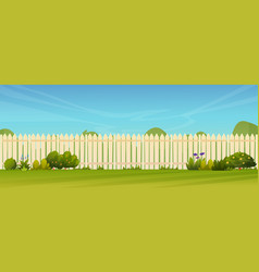 Lawn and fence hedge green trees bushes grass vector