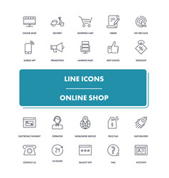 Line icons set online shop vector