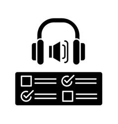 Listening examination black glyph icon vector