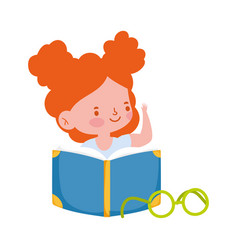 little student girl reading book cartoon character vector image