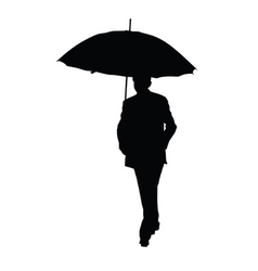 man with umbrella black silhouette vector image