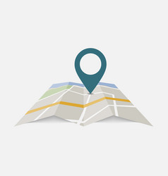 map with pin icon isolated on background modern s vector image