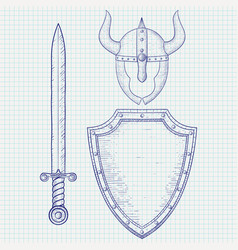 medieval warrior equipment sword shield horned vector image