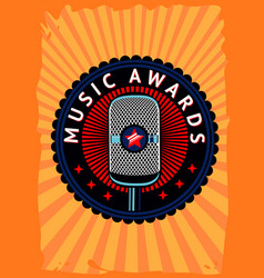music awards poster contest emblem with vector image