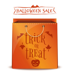 orange package with inscription - trick or treat vector image