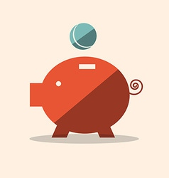 Pig Bank Flat Design Icon vector image