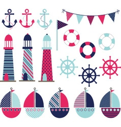 Pink Blue Nautical vector