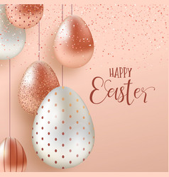 Pink copper easter eggs luxury greeting card vector