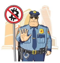 Police prohibits Bitcoin vector image