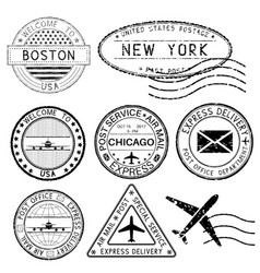 Postmarks and travel stamps usa cities vector