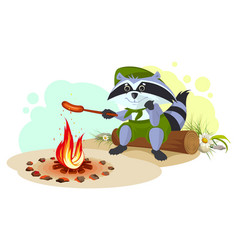 Raccoon scout fry sausages on fire vector