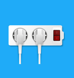 realistic electric outlet with plugs vector image