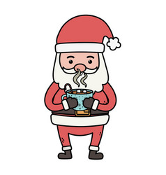 santa holding chocolate cup decoration merry vector image