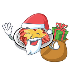 Santa with gift carpaccio in a character shape vector