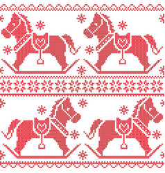 Scandinavian seamless nordic pattern with rocking vector image