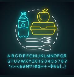 school lunchtime meal break neon light concept vector image